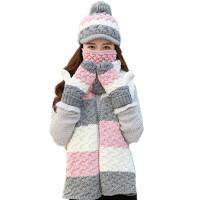 围巾帽子手套口罩四件套女冬天甜美可爱撞色毛线帽保暖套装 粉红白色