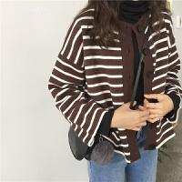 韩国学院风百搭条纹单排扣毛衣开衫学生外套女 均码