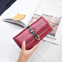 女士手拿钱包女包长款新款欧美时尚搭扣折叠多功能皮夹钱夹 色 偏酒