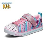 斯凯奇(SKECHERS)女童运动轻便板鞋 闪灯魔术贴休闲鞋20275L 彩色-GYMT 33.5码/鞋内长210mm