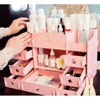 化妆品收纳盒 木质化妆品收纳盒抽屉式简约宿舍家用桌面大容量口红梳妆台置物架