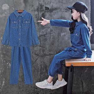 童装2018秋季新款女童水洗牛仔套装儿童长袖上衣+长裤女孩两件套