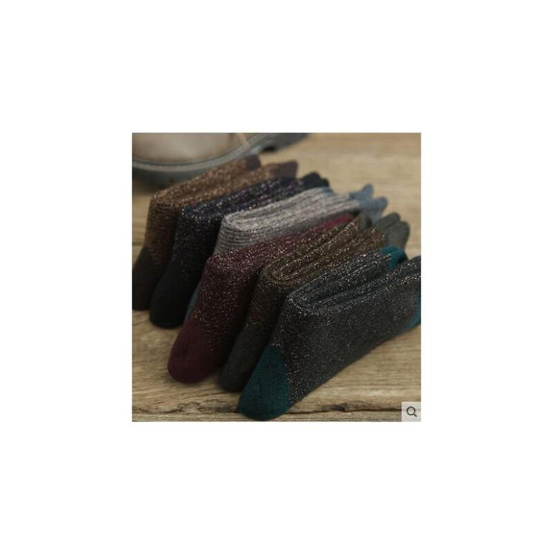 加厚金银丝羊毛堆堆袜冬天保暖袜子女棉中筒袜长韩国学院风棉袜
