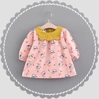 童装女童连衣裙春秋儿童长袖裙子0-1-2-3岁婴幼儿宝宝秋装公主裙 芭比粉 小鸟与花裙