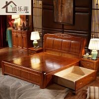 实木床双人1.8米主卧大床现代简约储物高箱床经济型1.5M中式婚床