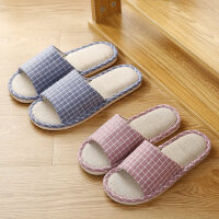 简约家居亚麻拖鞋女 新款室内居家用地板棉麻拖鞋 女士居家条纹拖鞋