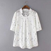 大码女装夏装T恤 棉短袖韩版胖MM显瘦 刺绣白色短袖衬衫