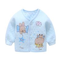 婴儿纯棉内衣0-3-6宝宝厚打底衣新生儿开衫上衣男女童秋保暖衣
