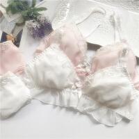 日系蕾丝雪纺少女可爱无钢圈文胸套装 女士睡眠舒适内衣内裤 粉色
