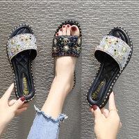 户外防滑沙滩凉拖鞋女 韩版chic百搭一字拖鞋女 新款外穿水钻平底凉鞋女