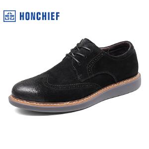HONCHIEF 红蜻蜓旗下 秋季新款经典雕花布洛克皮鞋时尚男士休闲鞋