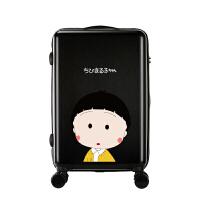 学生卡通动漫拉杆箱小清新可爱旅行箱樱桃小丸子行李箱万向轮箱子 黑色 黄衣小丸子