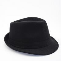 2018新款秋冬季新款帽子男英伦毛呢爵士帽巴拿马帽上礼帽中老年男士 黑色 毛呢款