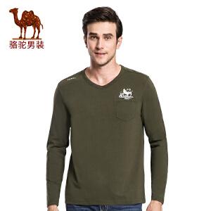 骆驼男装 秋季新款时尚印花V领修身青年日常休闲长袖T恤衫男