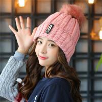 帽子女冬天韩版秋冬季毛线帽可爱毛球甜美针织加厚保暖学生护耳帽