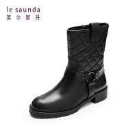 莱尔斯丹 圆头低跟加绒加厚保暖骑士靴女中筒靴9T35114F