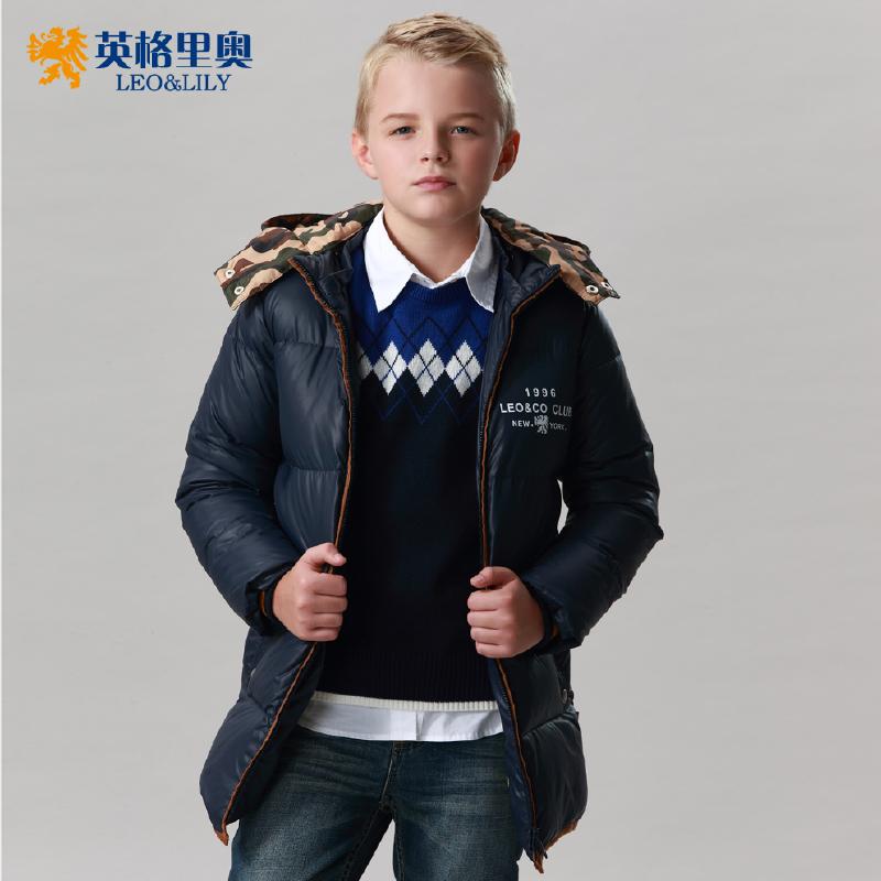 儿童羽绒服带帽中长款英格里奥新款 男童休闲羽绒服1761年末清仓 全场每满200减100 最高减400