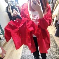 童装2018春装新款男女童韩版风衣母子母女装儿童中长款外套子装 红色