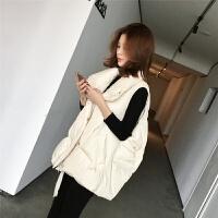 冬季羽绒棉马甲2018新款韩版学院风米白色加厚面包服马夹外套女装