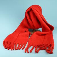 新款纯色仿羊绒围巾秋冬女韩版百搭加厚学生羊毛格子披肩两用围脖