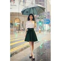 2018春夏新款甜美时尚气质女装上衣衬衫+韩版时髦大摆短裙两件套潮 白色上衣+深绿色半身裙