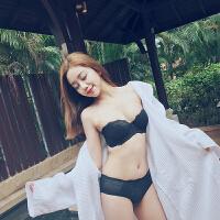 安娜蜜语夏季性感小胸聚拢蕾丝无肩带防滑上托胸罩女内衣文胸套装
