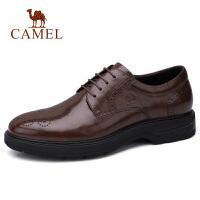 camel骆驼男鞋 秋季新款商务休闲皮鞋牛皮系带皮鞋办公德比鞋男