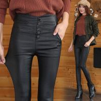 201808301052393572018 新款2018秋冬季新款高腰排扣黑色哑光皮裤女加绒加厚外穿打底裤加长性感潮流
