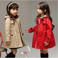 童装女童韩版风衣春装开衫夹克衬衫领长袖儿童上衣女宝宝外套潮