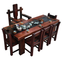 功夫茶几客厅小茶桌老船木茶桌阳台茶几客厅功夫小茶台中式实木办公泡茶桌椅特价 整装