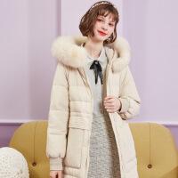 秋水伊人羽绒服冬装2019年新款女装纯色毛领白鸭绒中长款外套女