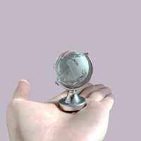 迷你地球仪摆件ins风透明水晶创意可爱桌面书桌装饰玻璃球*物