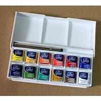 温莎牛顿cotman歌文固体水彩颜料套装/12色 半块装 英国进口水彩 /配金属画笔