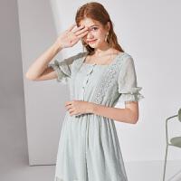 秋水伊人绿色连衣裙2020夏装新款女装复古短袖收腰法式雪纺裙子