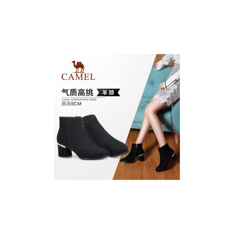 Camel/骆驼女鞋 2018冬季新品 时尚英伦高跟拉链简约摩登靴子女