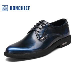 HONCHIEF 红蜻蜓旗下 商务男士休闲皮鞋真皮男鞋尖头男士正装皮鞋