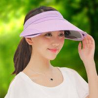 户外运动防晒帽子女 韩版空顶遮阳帽女 伸缩帽檐女士遮脸帽子 登山太阳帽子