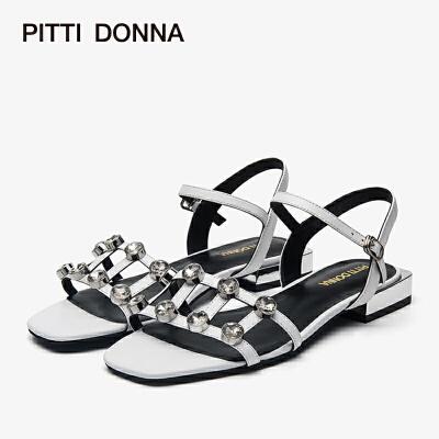 PITTI DONNA低跟露趾钻饰一字带女款凉鞋 9M15205 低跟 钻饰 一字带