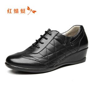红蜻蜓女鞋17秋新品车缝线舒适坡跟女士休闲鞋