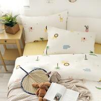 双层纱纯棉卡通简约水洗棉格子床单四件套床上用品 双层纱小狮子套件 1.5m(5英尺)床 床笠款