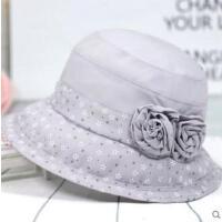 女士帽子遮阳帽薄款雪纺时装中老年人盆帽老年人礼帽渔夫帽
