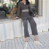 春季新款复古POLO领撞色针织衫+高腰阔腿长裤针织开叉气质套装女 灰色 均码