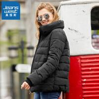 [超级大牌日每满299-150]真维斯棉服女2018冬装新款女士立领长袖加厚棉衣韩版学生外套上衣