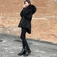 冬chic棉衣女中长款2018新款收腰宽松大毛领棉袄工装外套加厚