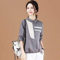 衬衫 女士时尚宽松拼接长袖衬衫2020春秋韩版纯色打底衬衣学生潮流上衣