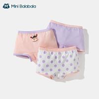 迷你巴拉巴拉儿童内裤女童平角抗菌内夏季薄款舒适透气裤三条装
