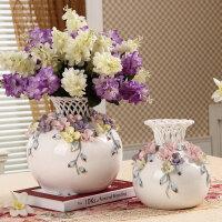 家居饰品摆件欧式圆花瓶创意陶瓷器花插工艺品摆设餐桌花瓶礼品