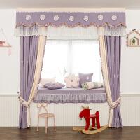 公主风窗帘现代简约紫色小天使 韩式田园公主女孩房儿童窗帘布艺 卧室飘窗窗幔头定制