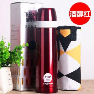 特百惠保温杯 500ml不锈钢保温瓶男女户外家用便携大容量闷烧水杯 柔蜜粉 送杯套