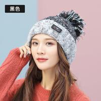 帽子女韩版毛线帽子秋冬季针织帽黑色保暖加厚帽子护耳